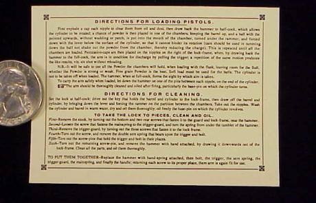 half scale Colt Percussion instructions label-1