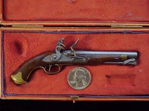 Antique British flintlock martial pistol-1