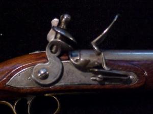 Antique British flintlock martial pistol-10