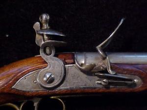 Antique British flintlock martial pistol-11
