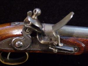 Antique British flintlock martial pistol-22