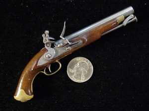 Antique British flintlock martial pistol-3