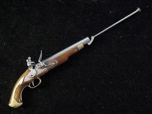 Antique British flintlock martial pistol-6