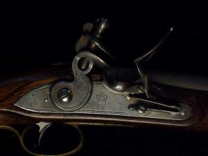 Antique British flintlock martial pistol-8