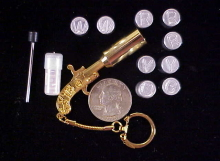 A & D gold plated SS pistol key ring flare set-1